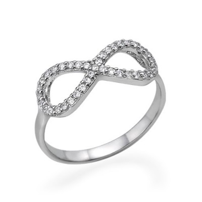 Silver Cubic Zirconia Encrusted Infinity Ring - Custom Jewellery By All Uniqueness