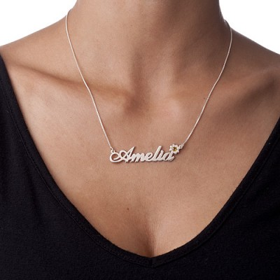 404b0556e Silver and Swarovski Crystal Flower Name Necklace - Custom Jewellery By All  Uniqueness