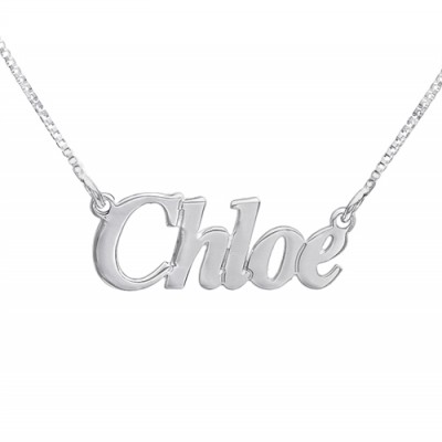 Small Angel Style Silver Name Necklace - Custom Jewellery By All Uniqueness