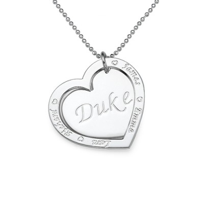 Family Heart Necklace in Silver - Custom Jewellery By All Uniqueness