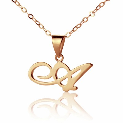 Madonna Style Initial Necklace Solid Rose Gold - Custom Jewellery By All Uniqueness