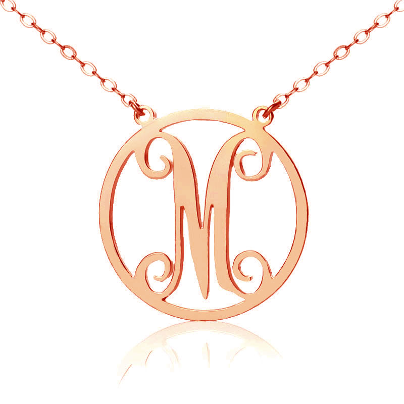 Solid rose gold single initial circle monogram necklace custom solid rose gold single initial circle monogram necklace custom jewellery by all uniqueness mozeypictures Gallery