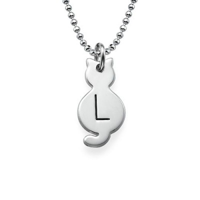Tiny Cat Necklace with Initial in Silver - Custom Jewellery By All Uniqueness