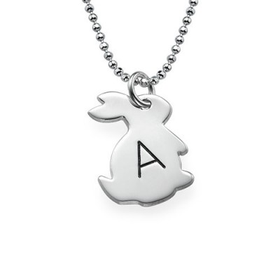 Tiny Rabbit Necklace with Initial in Silver - Custom Jewellery By All Uniqueness