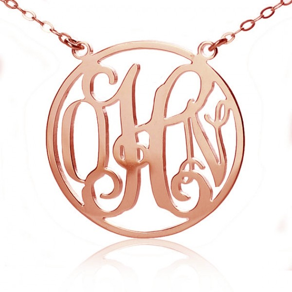 a51e02f3844a9 Circle Solid Rose Gold Initial Monogram Name Necklace - Custom Jewellery By  All Uniqueness