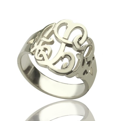 Hand Drawing Monogrammed Ring Silver - Custom Jewellery By All Uniqueness