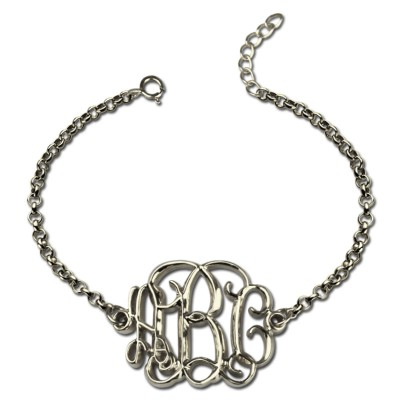 Celebrity Monogram Initial Bracelet Silver - Custom Jewellery By All Uniqueness