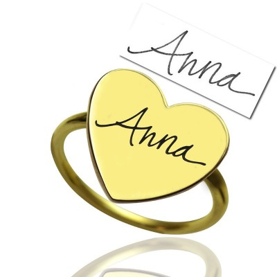 Gold Heart Signet Ring With Your Signature - Custom Jewellery By All Uniqueness