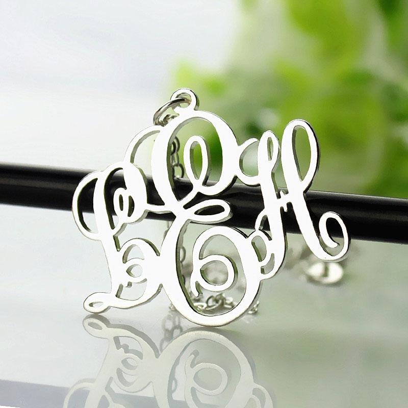 d220458b89790 Vine Font Initial Monogram Necklace White Gold Plated - Custom ...