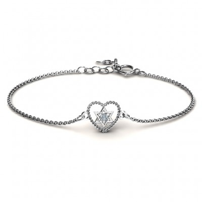 Chained Heart with Star of David Bracelet - Custom Jewellery By All Uniqueness