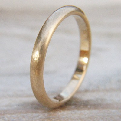 3mm Hammered Wedding Ring In Gold - Custom Jewellery By All Uniqueness