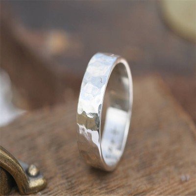 Hammered Silver Ring - Custom Jewellery By All Uniqueness