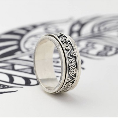 Mens Aztec Silver Spinning Ring - Custom Jewellery By All Uniqueness
