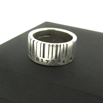 Extra Wide Silver Barcode Ring - Custom Jewellery By All Uniqueness
