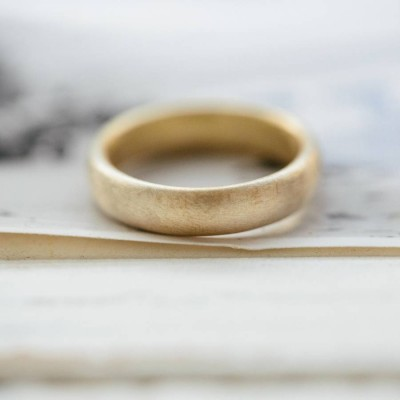 Gents Soft Pebble Wedding Ring Gold - Custom Jewellery By All Uniqueness