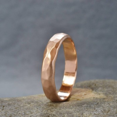 Rose Gold Hammered Wedding Ring - Custom Jewellery By All Uniqueness