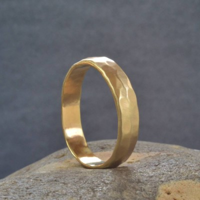 Gold Hammered Wedding Ring - Custom Jewellery By All Uniqueness