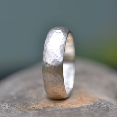 Silver Wedding Ring Lightly Hammered Finish - Custom Jewellery By All Uniqueness