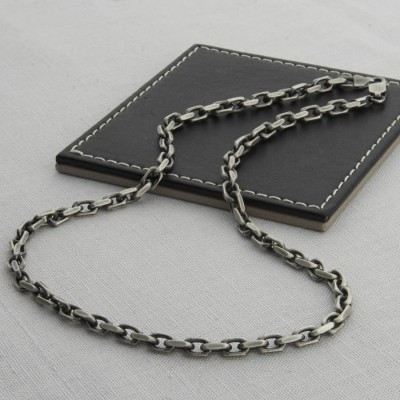 Mens Silver Anchor Chain Style Necklace - Custom Jewellery By All Uniqueness