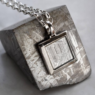Meteorite And Silver Square Necklace - Custom Jewellery By All Uniqueness