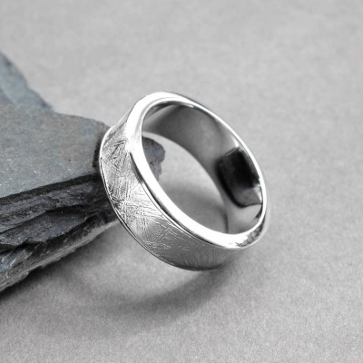 Meteorite Inlaid Silver Ring - Custom Jewellery By All Uniqueness