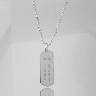 Coordinates Dog Tag Necklace - Custom Jewellery By All Uniqueness