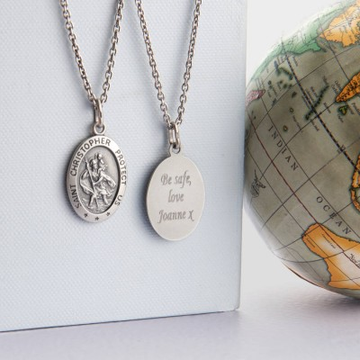 Mens St Christopher Silver Necklace - Custom Jewellery By All Uniqueness