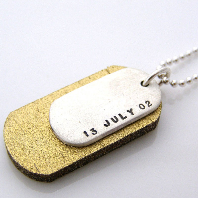 silver and wood dog tags custom jewellery by all uniqueness