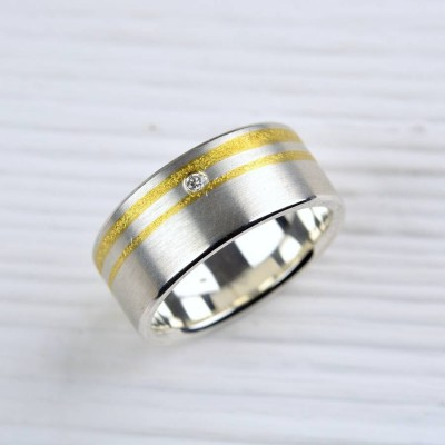 Silver And Finegold Diamond Ring - Custom Jewellery By All Uniqueness