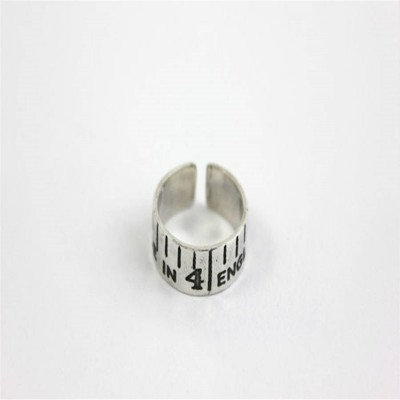 Etched Silver Vintage Style Tape Measure Ring - Custom Jewellery By All Uniqueness