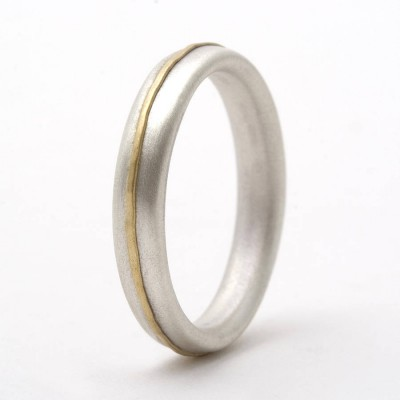Thin Silver Ring With Yellow Gold Detail - Custom Jewellery By All Uniqueness