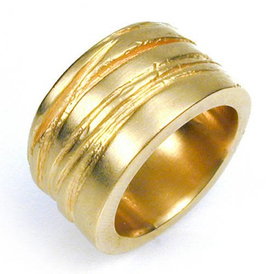 Wide Silver Texture Bound Ring In Gold Plated - Custom Jewellery By All Uniqueness